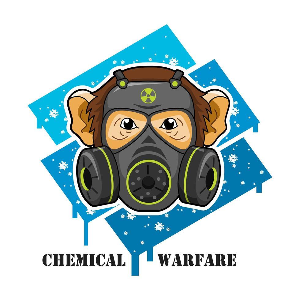 singe portant un masque à gaz vecteur
