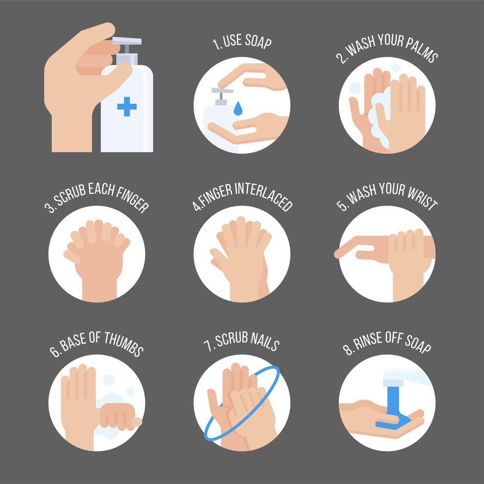 Set de infografía de pasos de lavado de manos vector