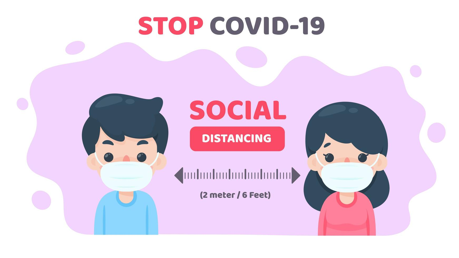 Cartoon masked people social distancing to stop Covid-19 vector