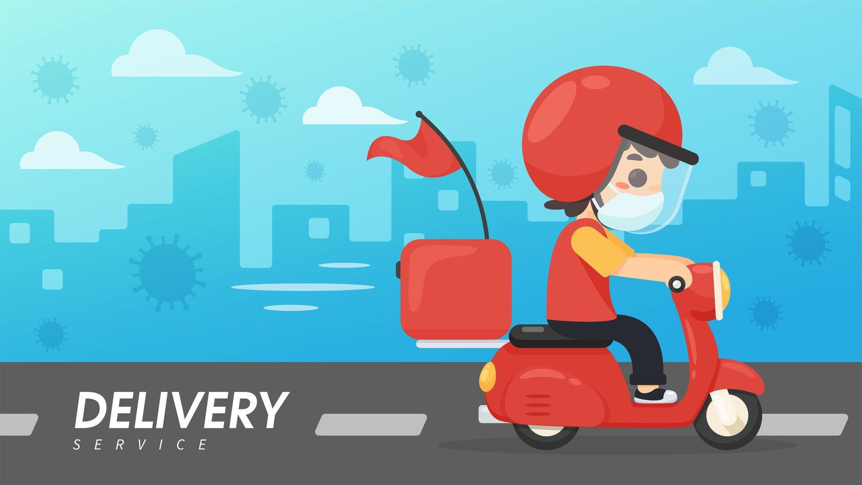 vista laterale dell'uomo di consegna dei cartoni animati su scooter vettore