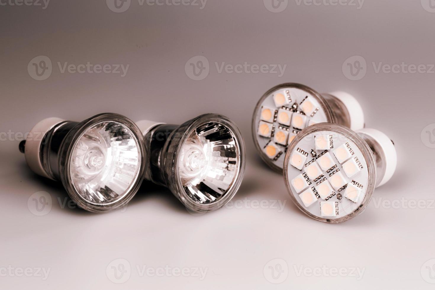 Modern LED bulbs with classic old bulbs photo