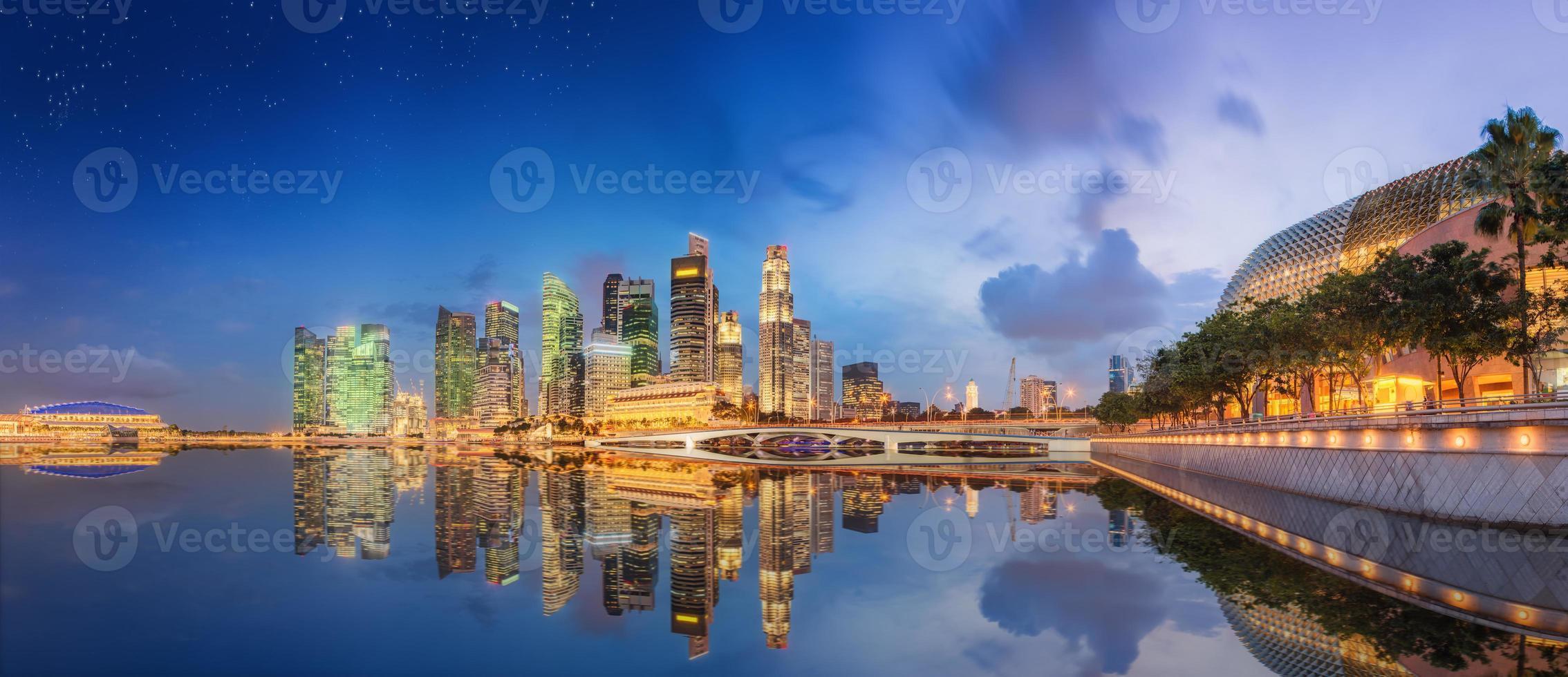 horizonte de Singapur y vista de marina bay foto