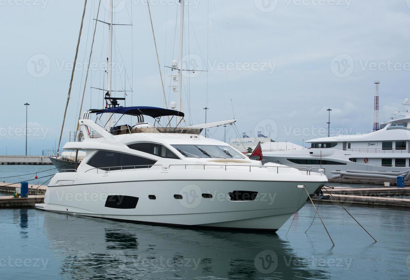 luxurious white yacht photo