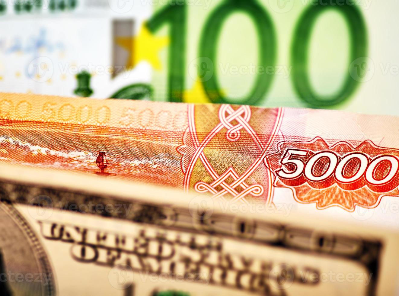 USD,EUR and Russian RUB baknotes. Selective focus photo