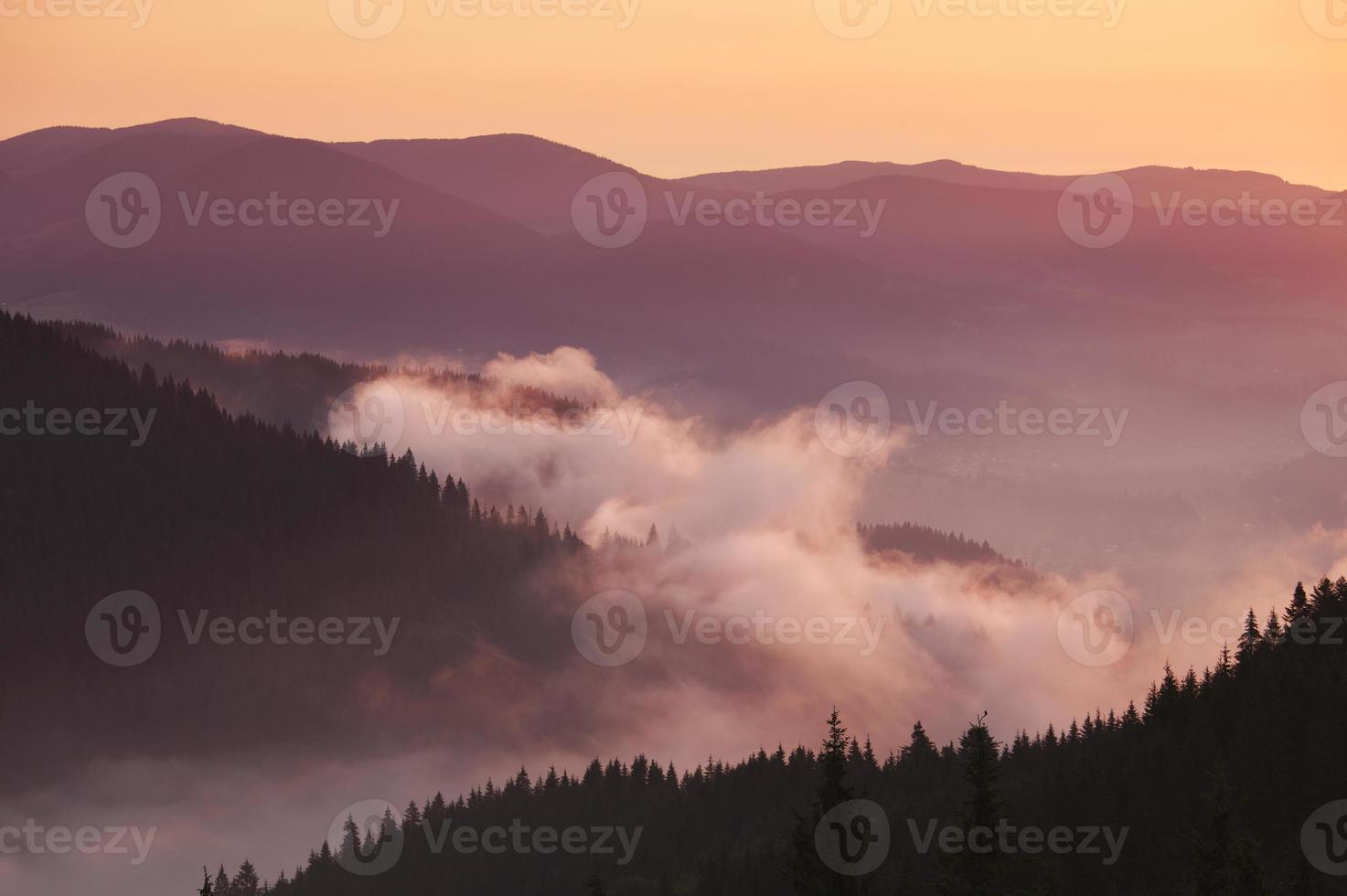 Appalachian mountains foggy morning photo