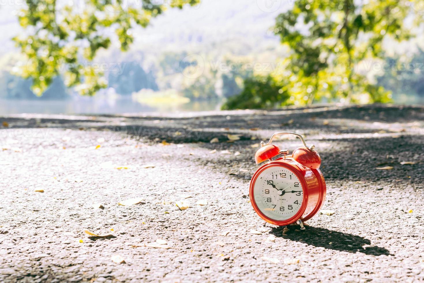 Red alarm clock photo