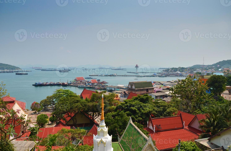 Aerial view of fisherman pier at Sichang Island ,Chonburi ,Thail photo