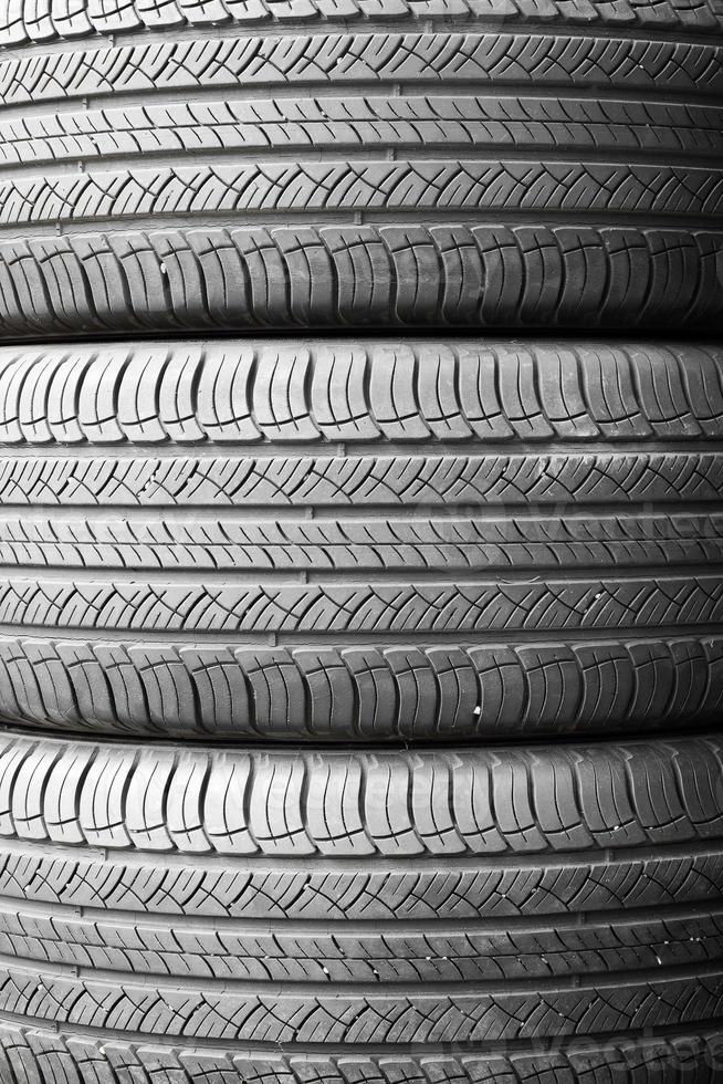 Car tires background in a row. photo