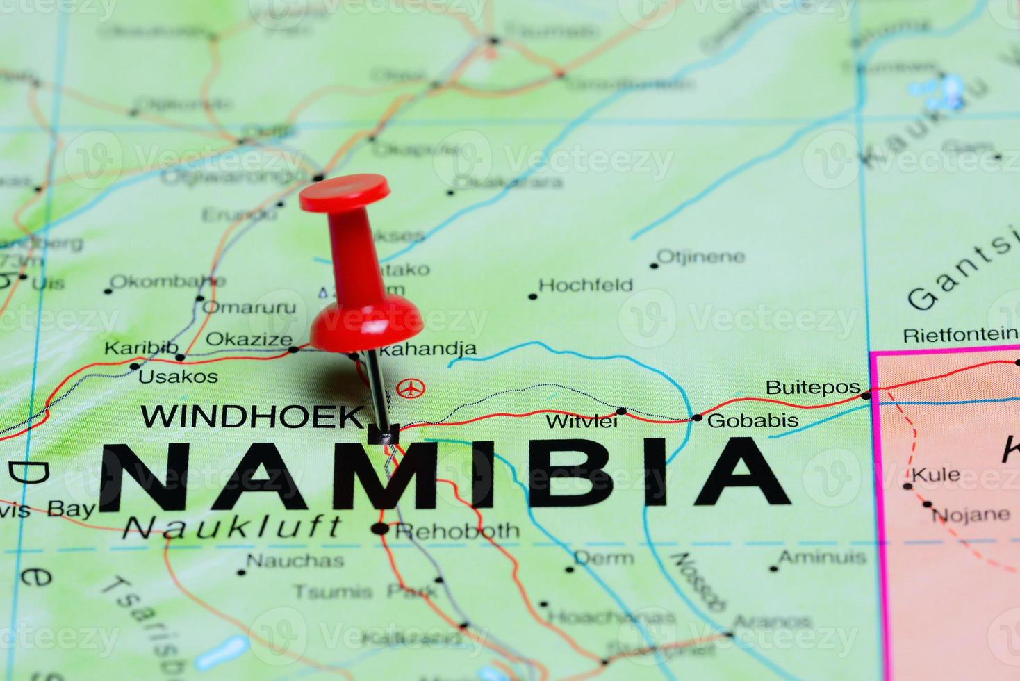Windhoek pinned on a map of Africa photo