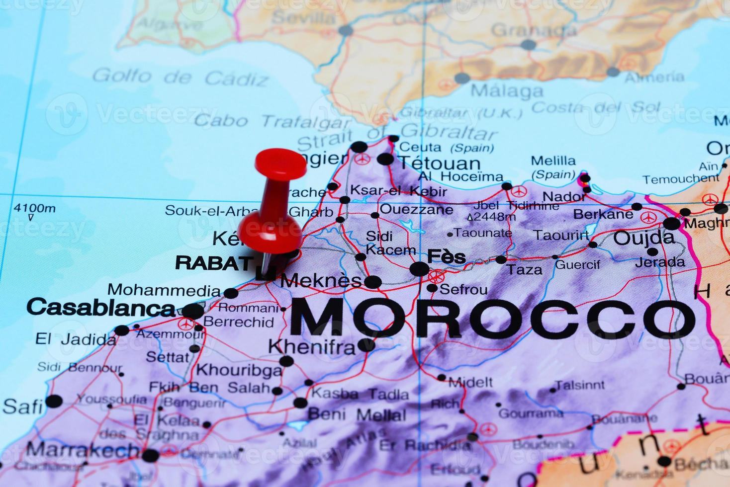 Rabat pinned on a map of Africa photo