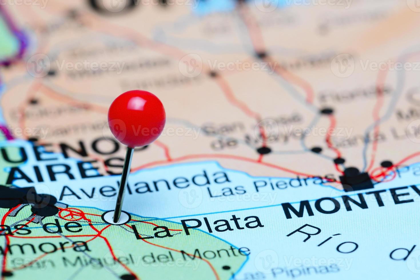 La Plata pinned on a map of Argentina photo