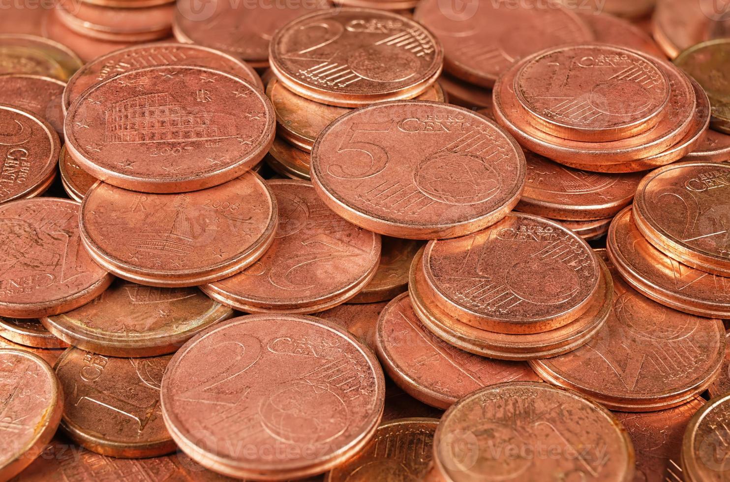 Coins group macro photo