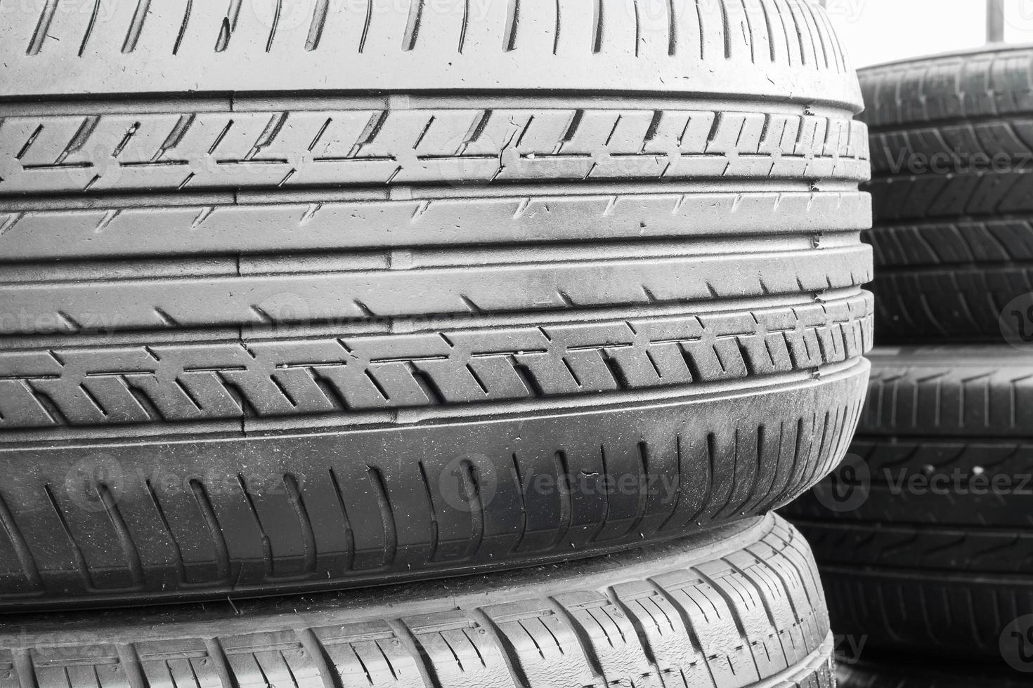 Car tires in shelf tire storehouse photo