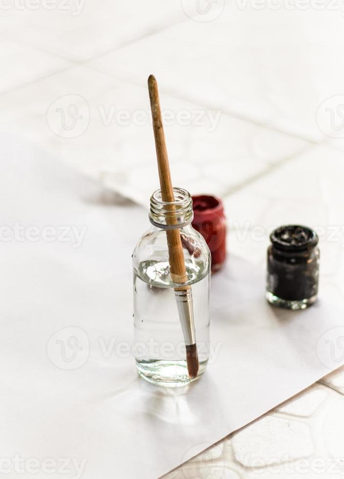Old paintbrushes paints photo