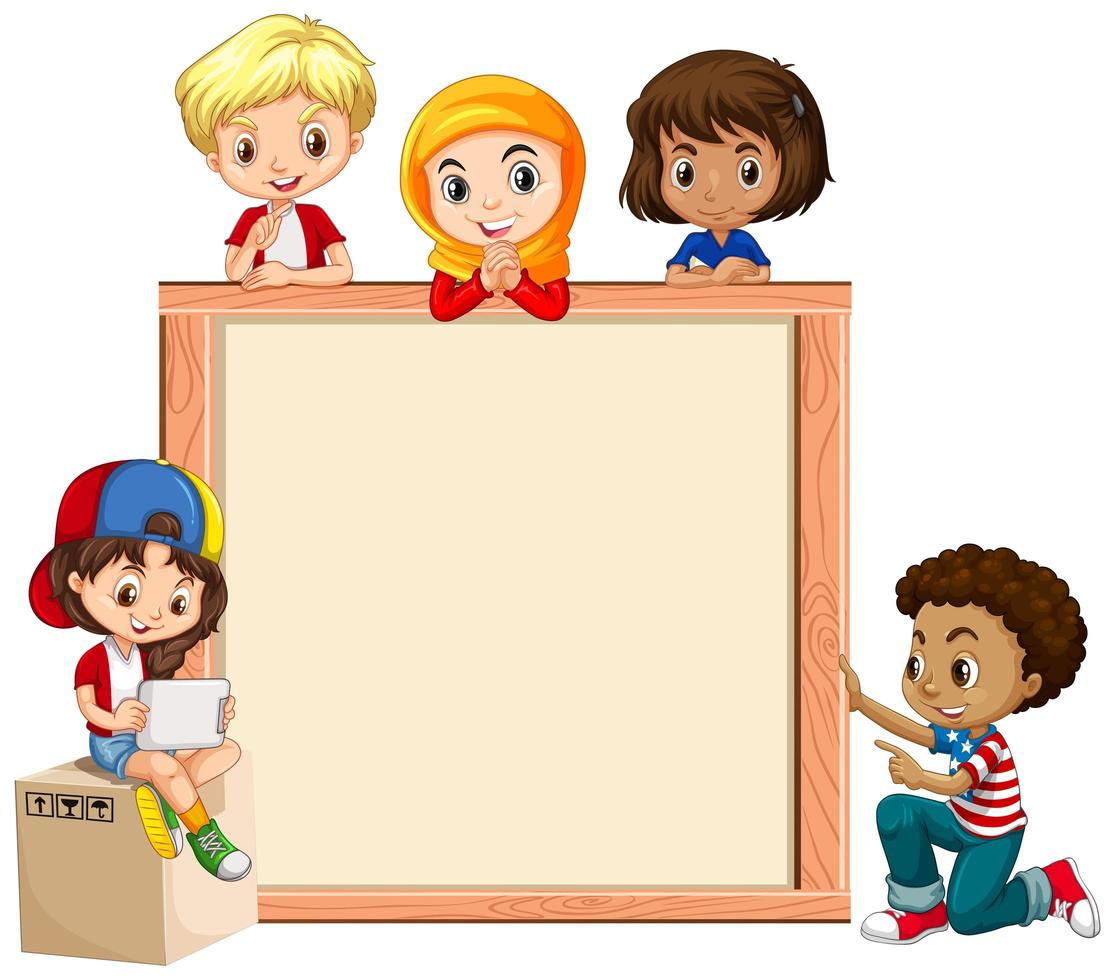 Wood Frame with Happy Kids vector