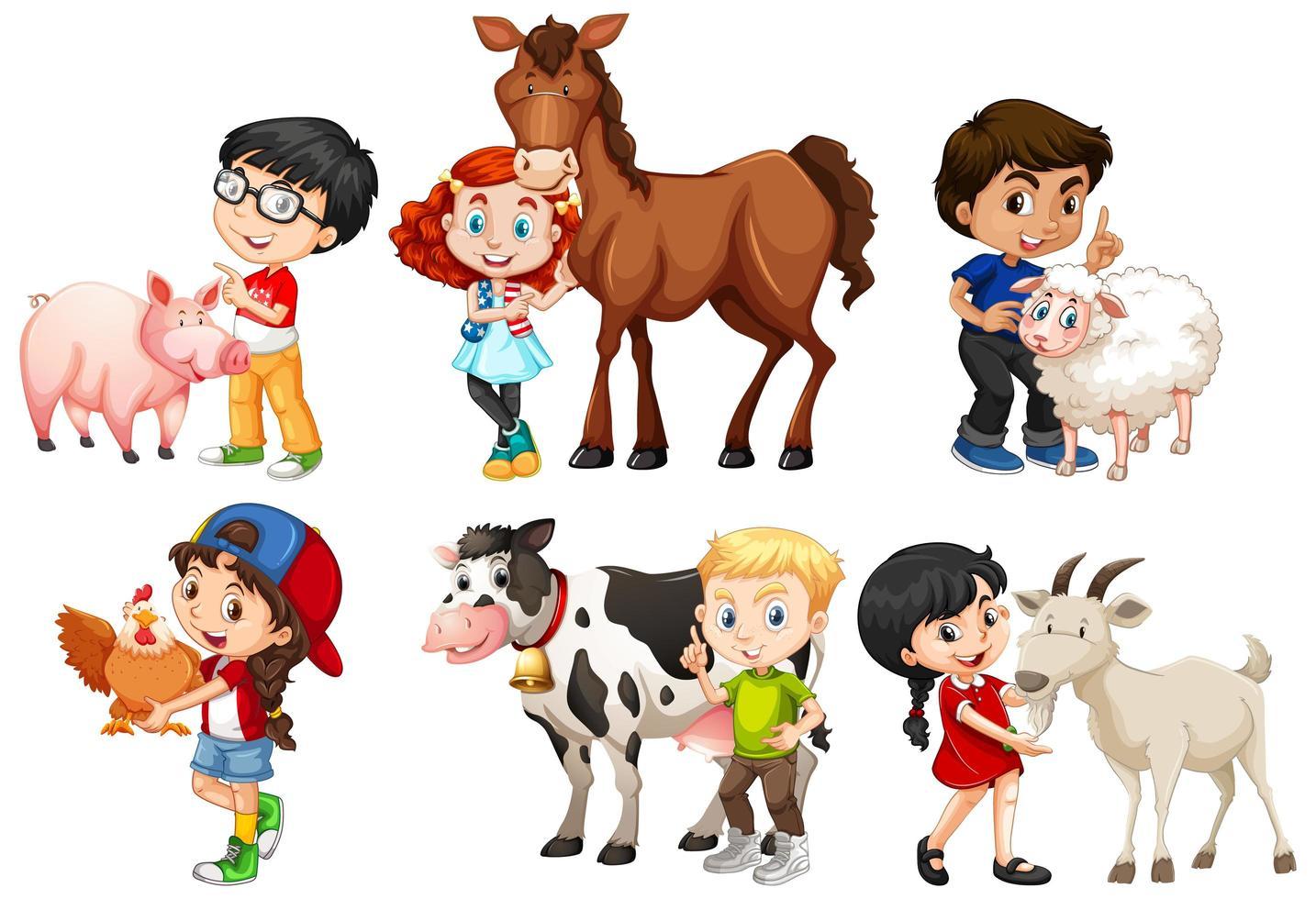 niños felices con animales de granja vector