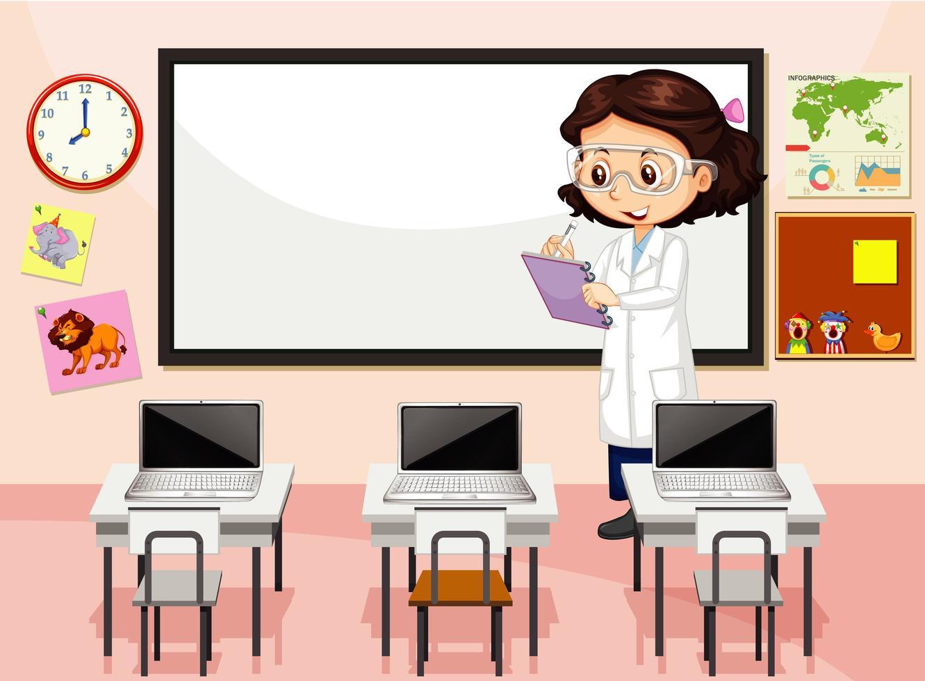 escena del aula con profesor vector
