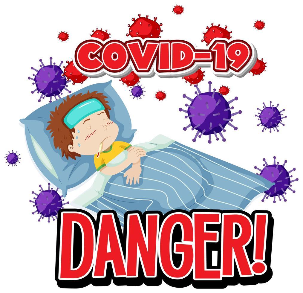 danger de covid-19 sur fond blanc vecteur