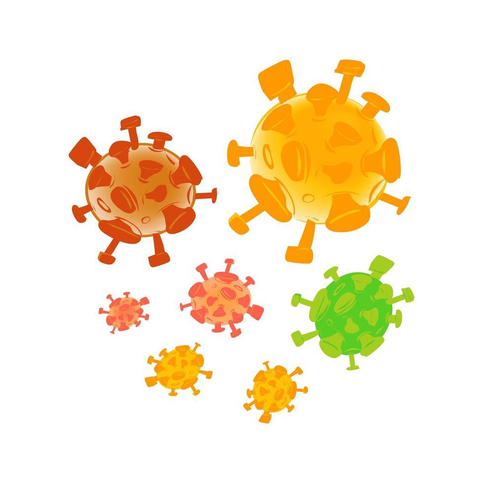 conjunto de símbolos de estilo plano de virus corona vector