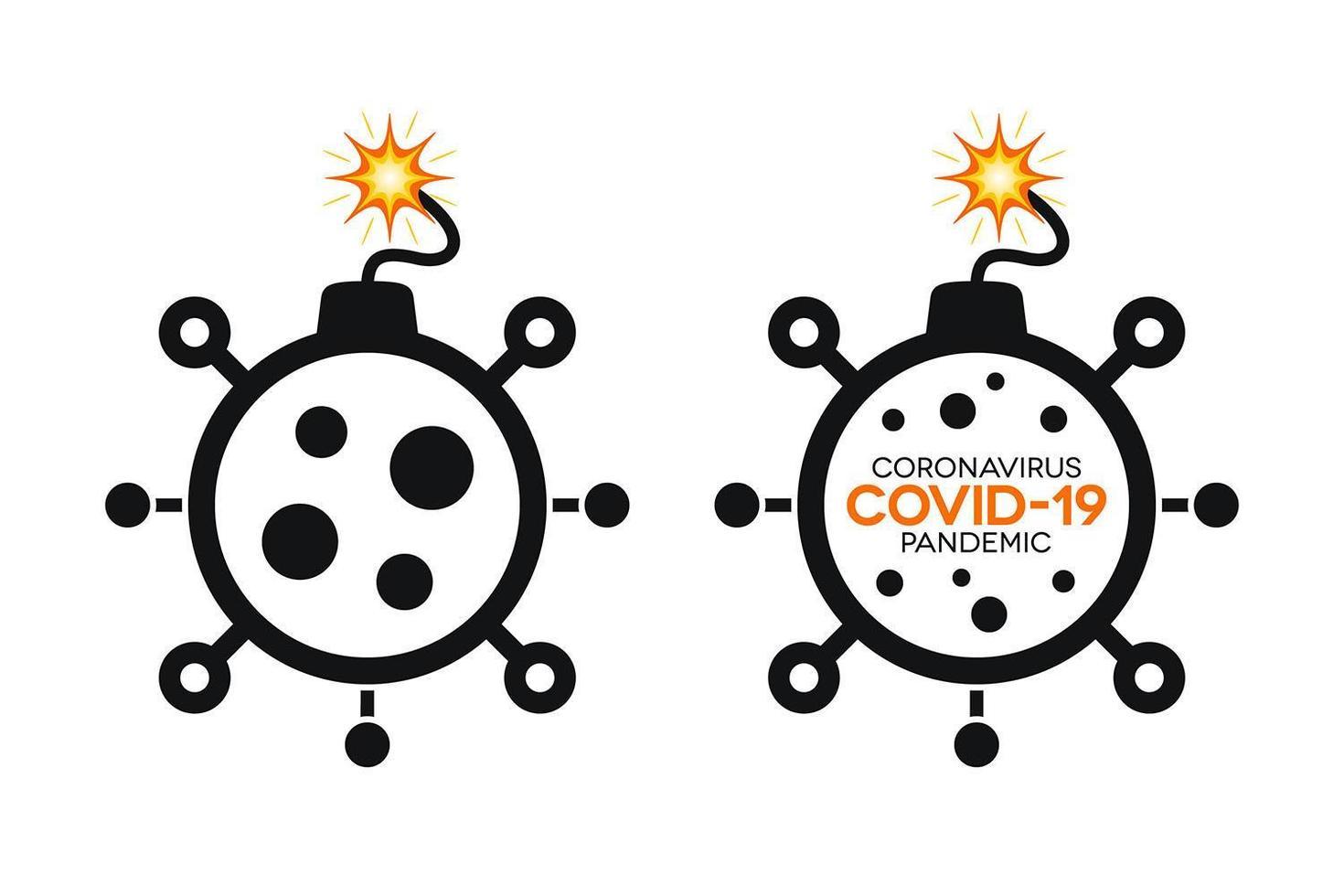 Simple Coronavirus Bomb Icons with Covid-19 vector
