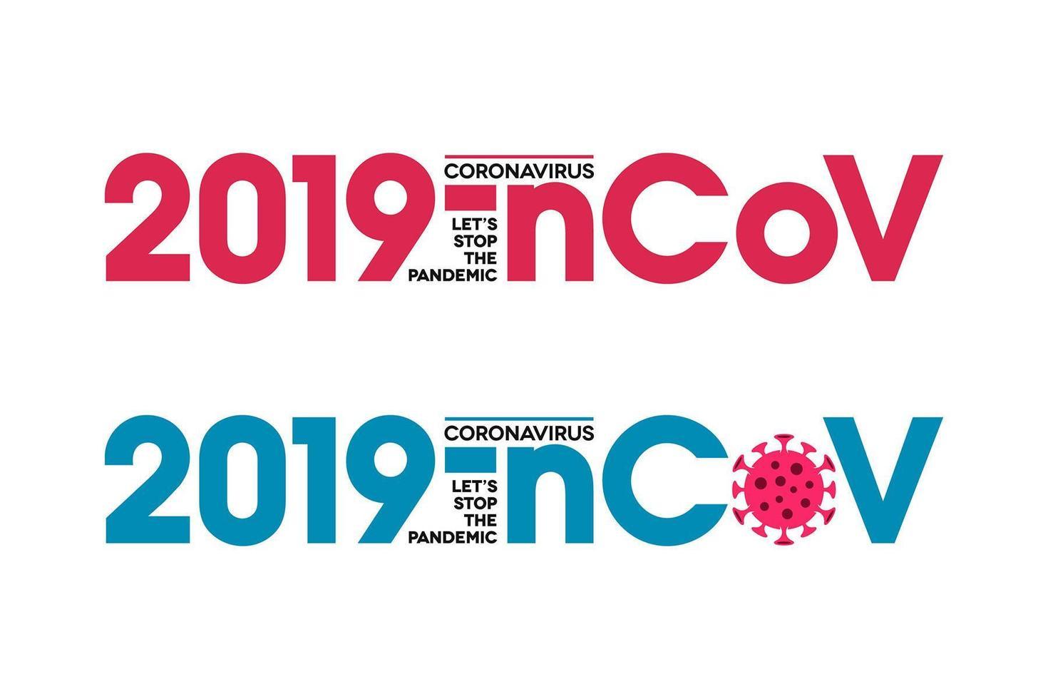 2019-nCoV Typographic Lettering Coronavirus Icon vector