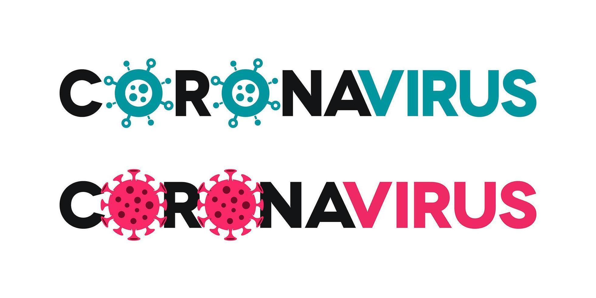Coronavirus Lettering with Virus Icons vector