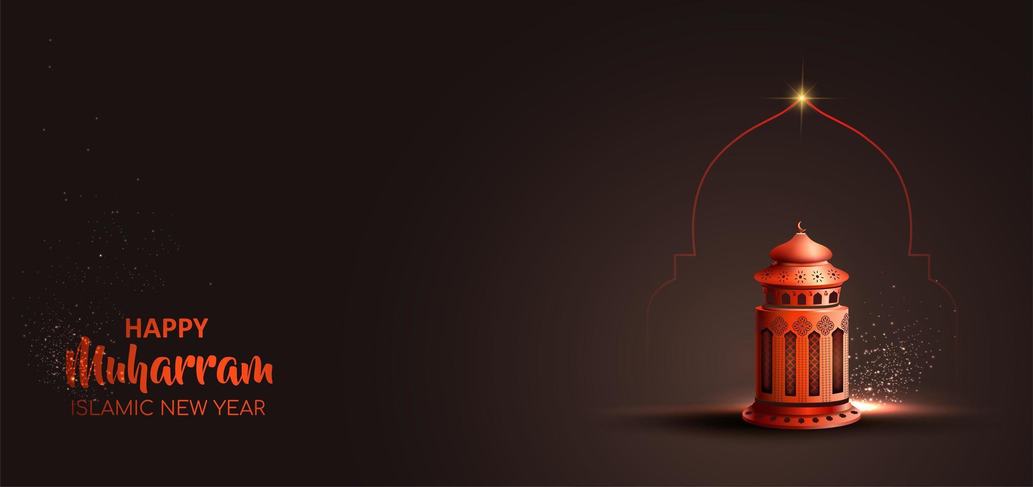 Happy muharram islamic new year card design with red lantern  vector