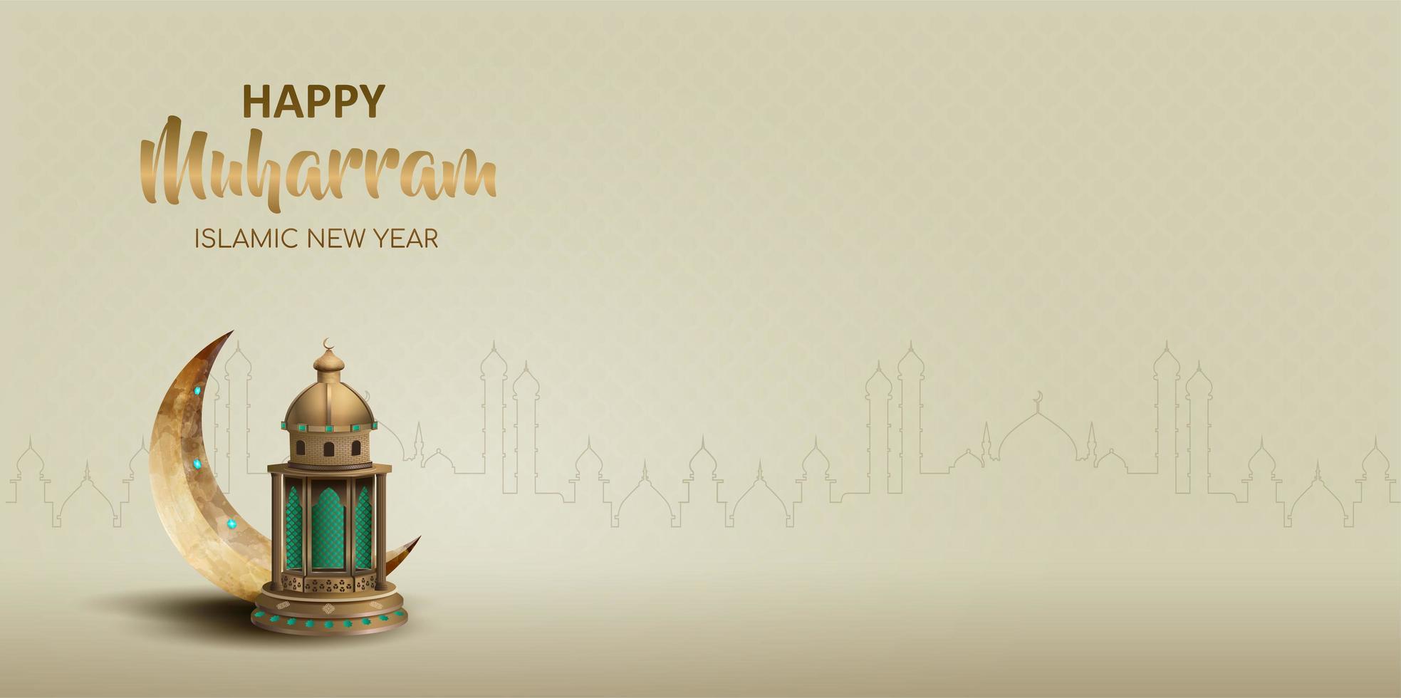 Happy muharram islamic new year card design vector
