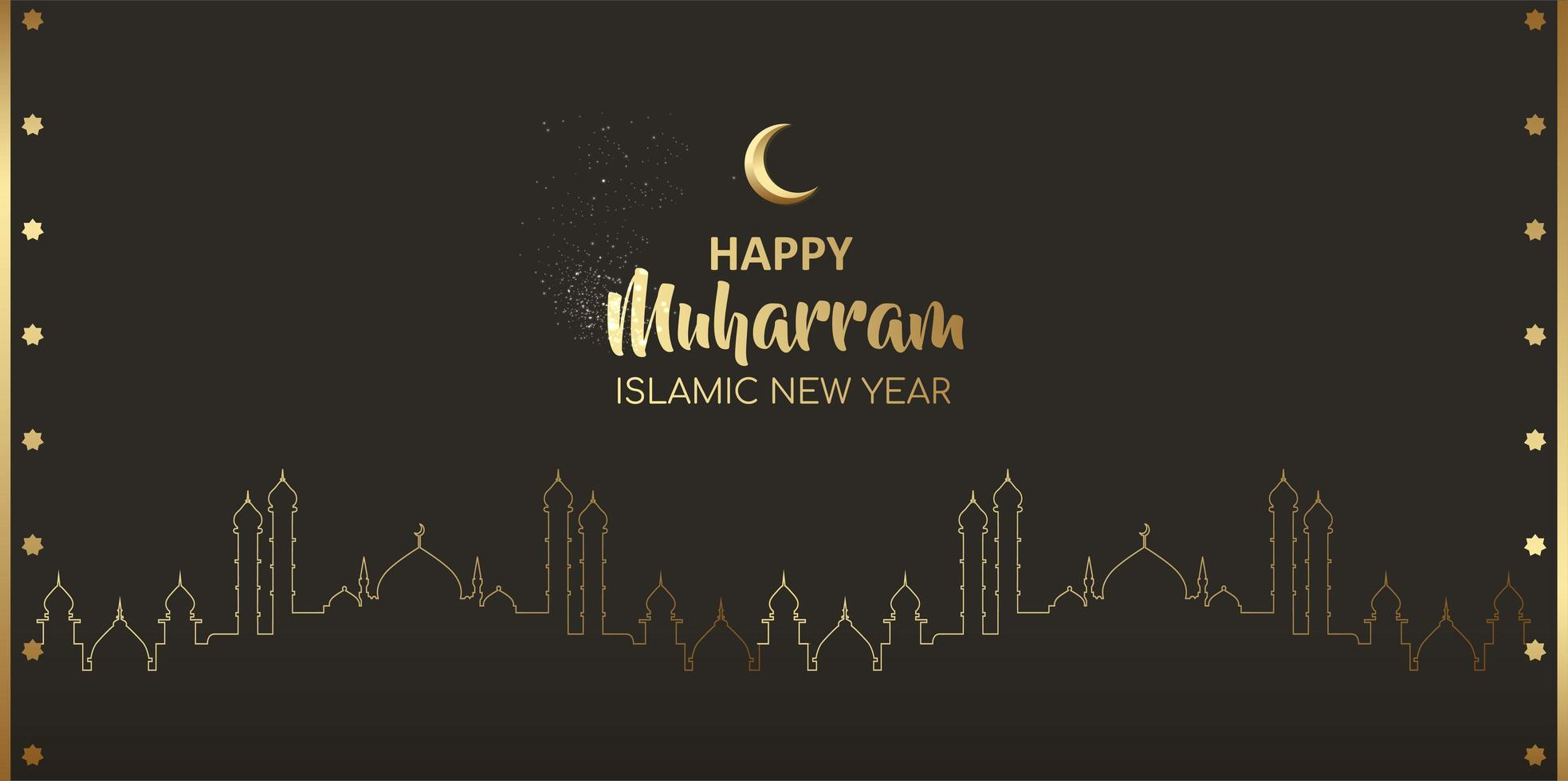 Happy muharram islamic new year card night  design vector
