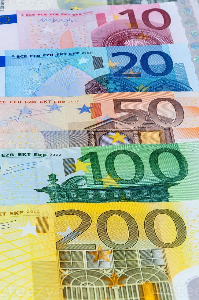 Fondo de billetes en euros foto