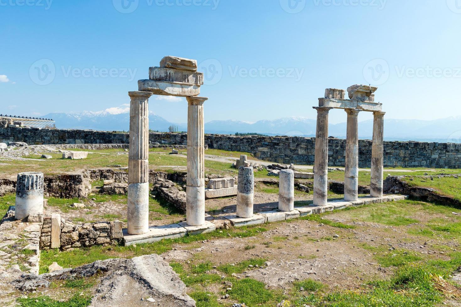 Ancient ruins in Hierapolis, Pamukkale, Turkey. photo
