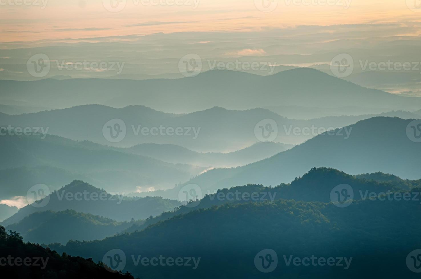 The simple layers of the Smokies at sunset photo