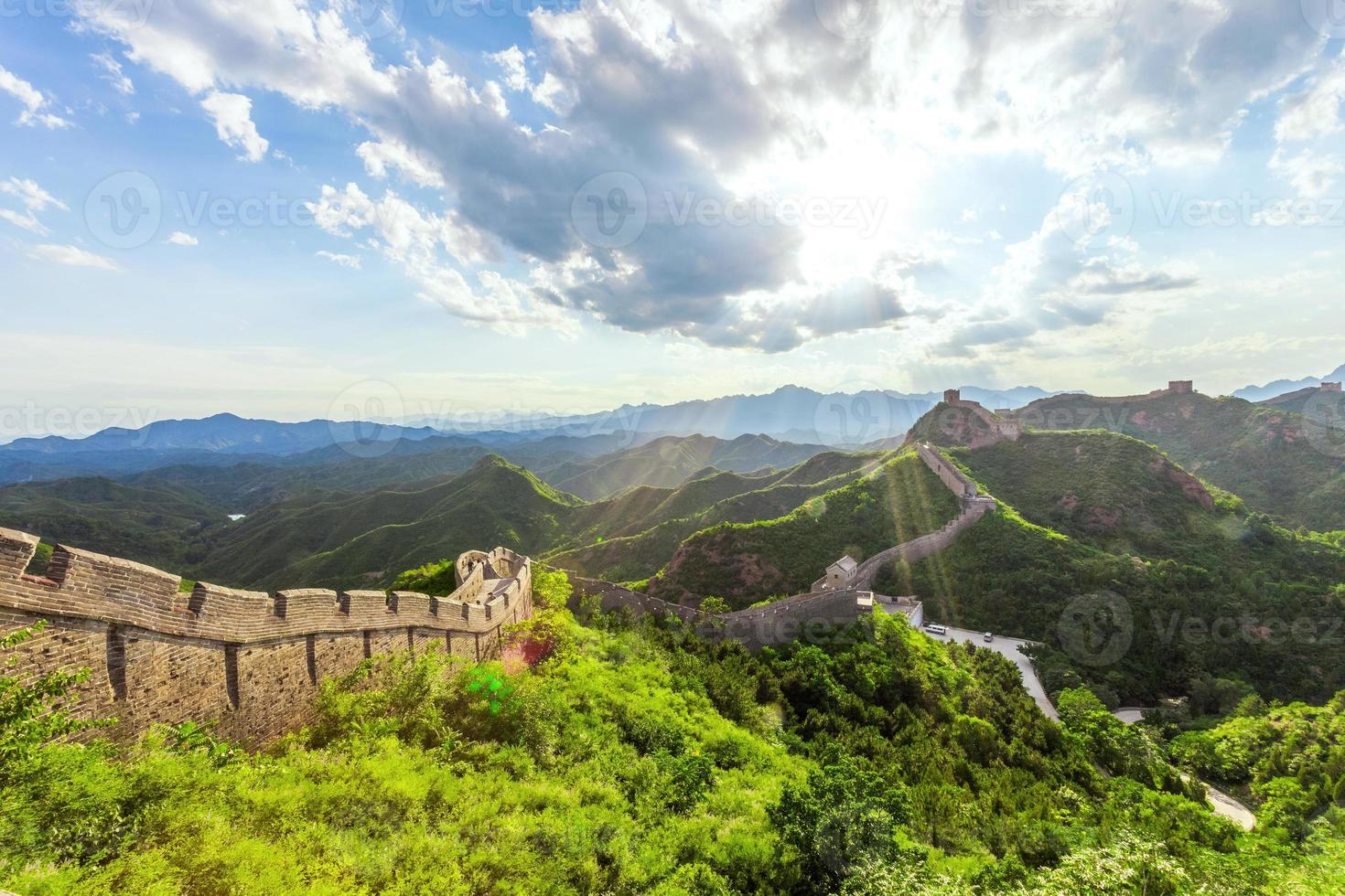 Great wall under sunshine during sunset photo