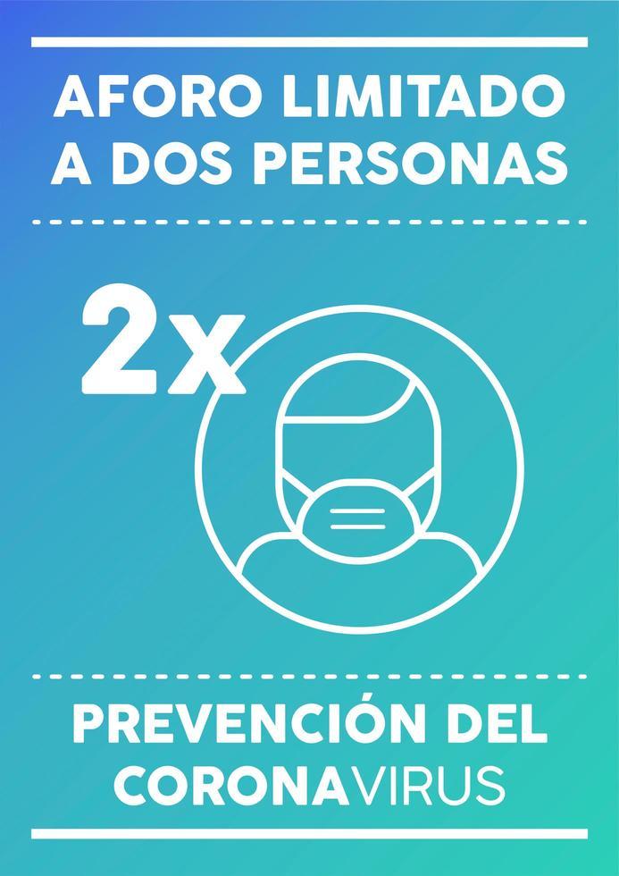 cartel de dos personas con capacidad limitada en español vector