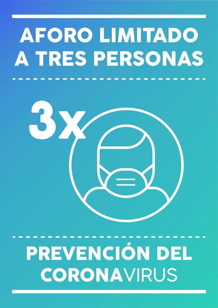 cartel de capacidad limitada para tres personas en español vector