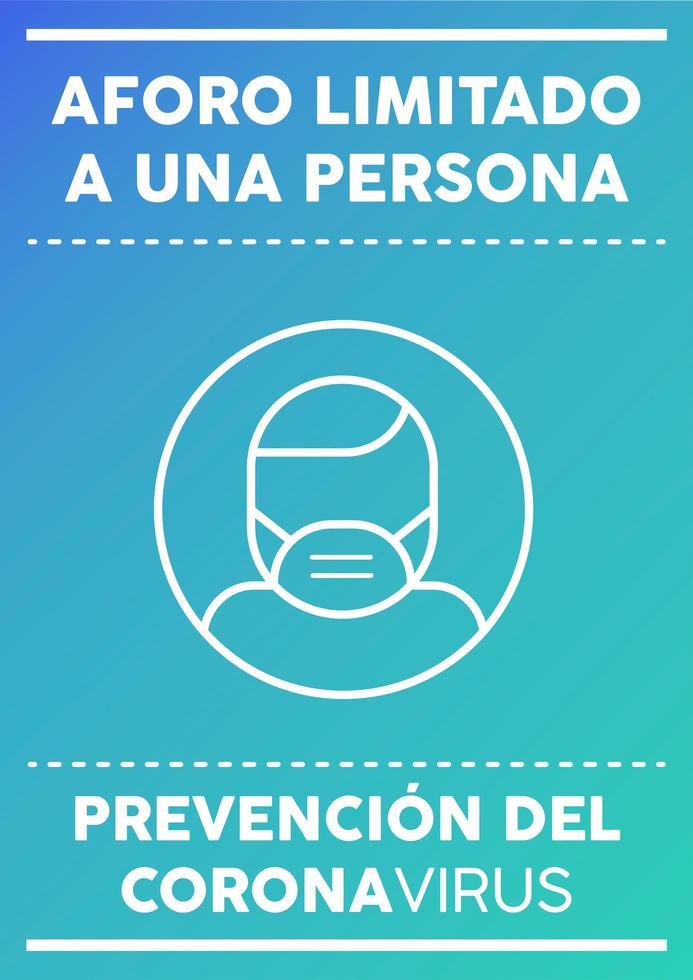 affiche d'une personne à capacité limitée écrite en espagnol vecteur