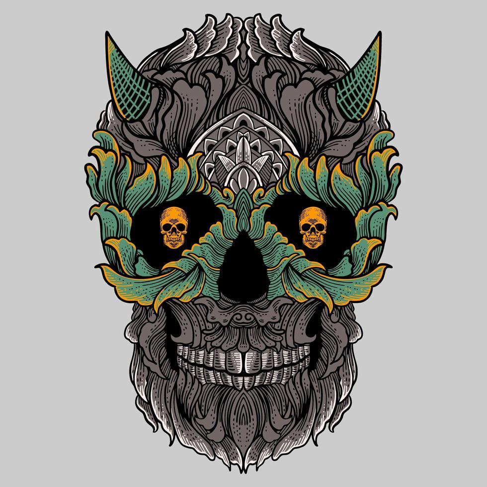 Floral ornament skull with horns vector