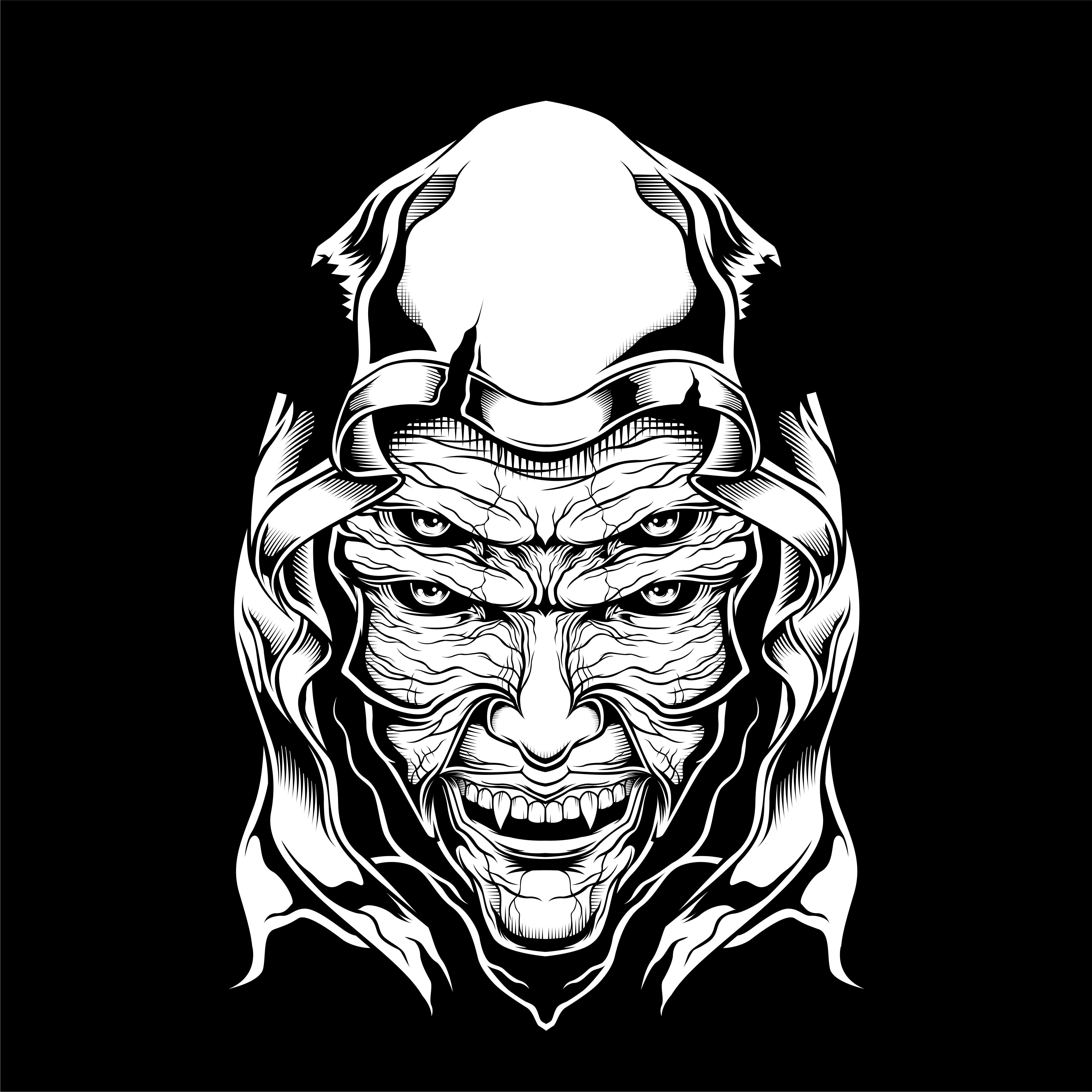 Demon Four Eye Face In Hood