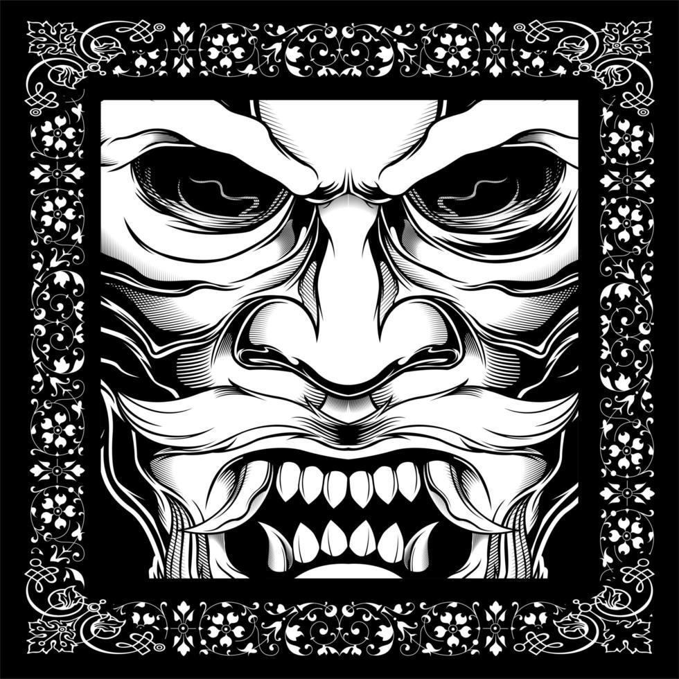 Japanese Style Mustache Skull vector