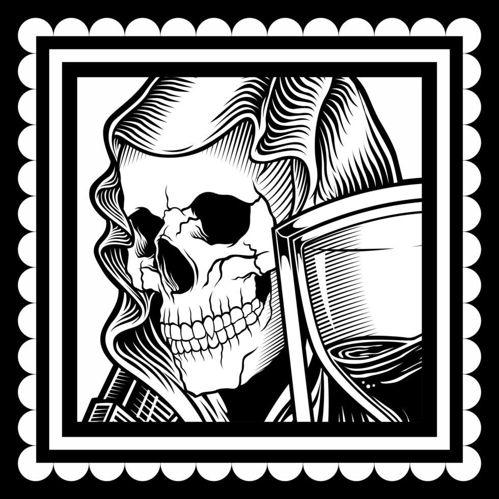 Skull Wearing a Veil vector