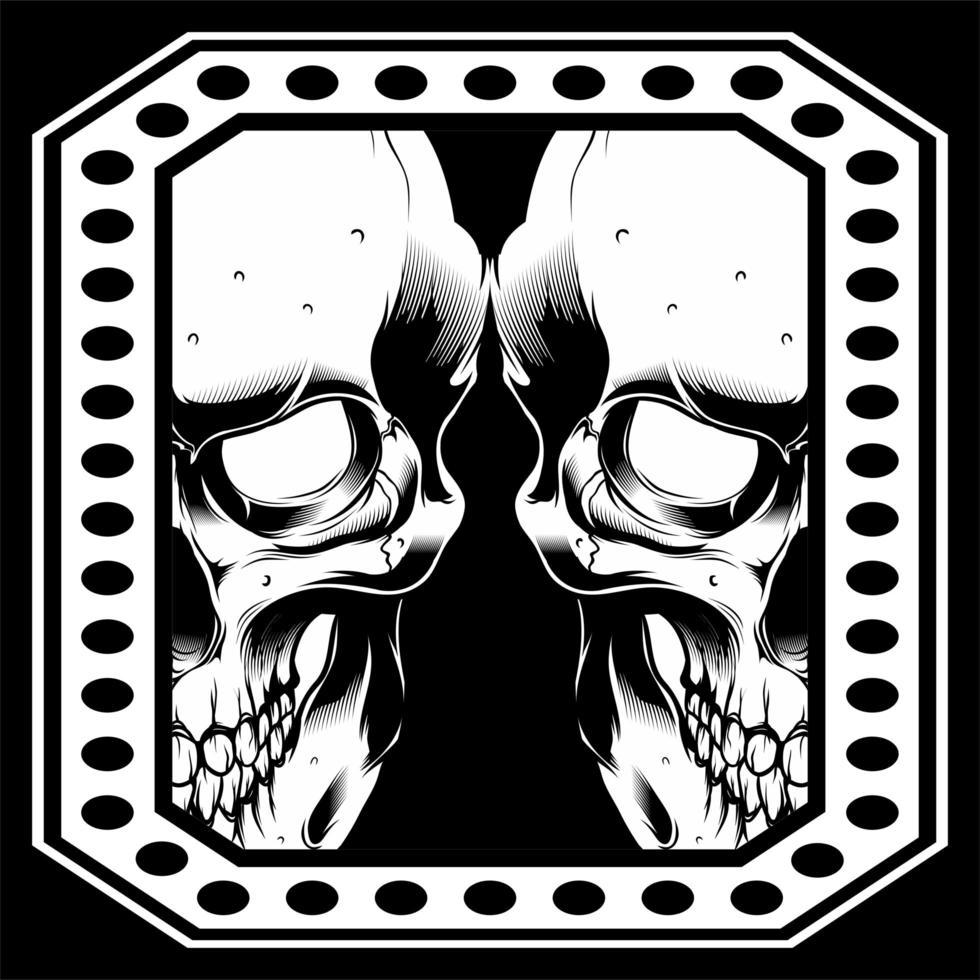 Double Skull Face in Dot Frame vector