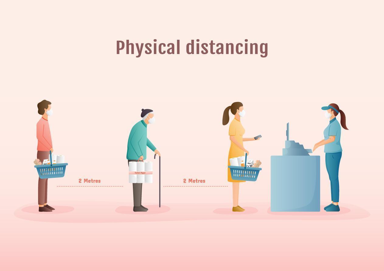 distanciamiento físico de las personas mientras hacen fila en la tienda vector