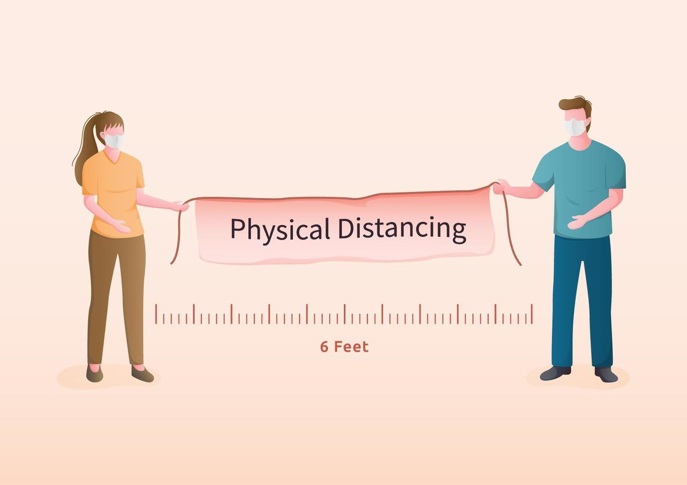 Masked man and woman holding physical distancing banner vector
