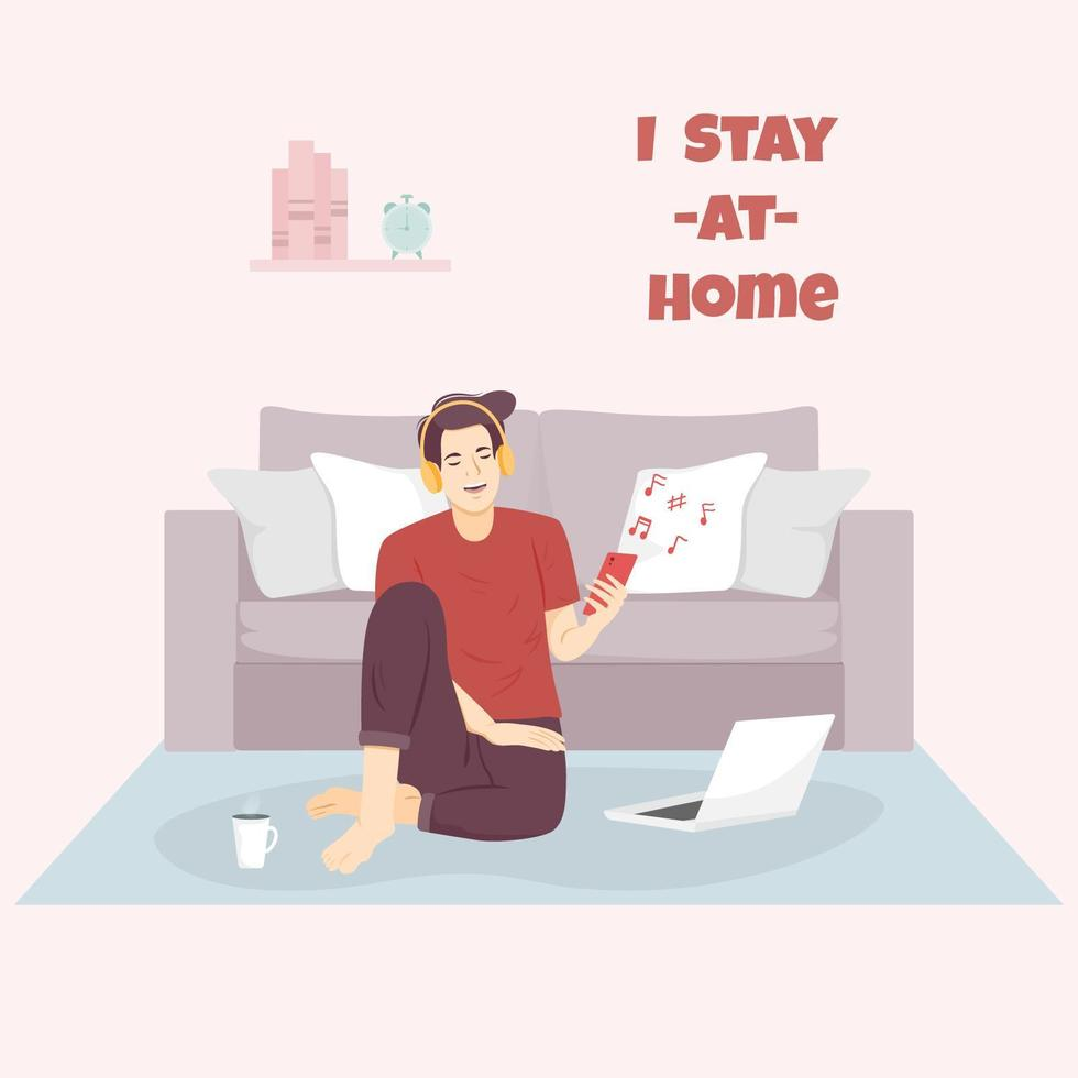 Man with laptop listening to music at home vector