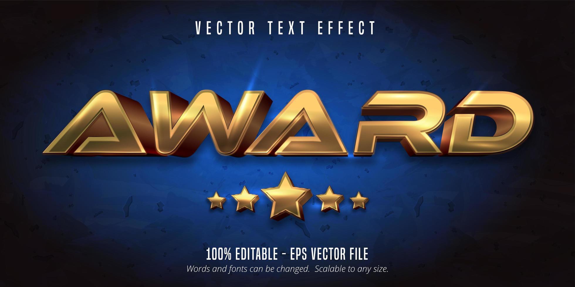 Award golden metallic text effect  vector