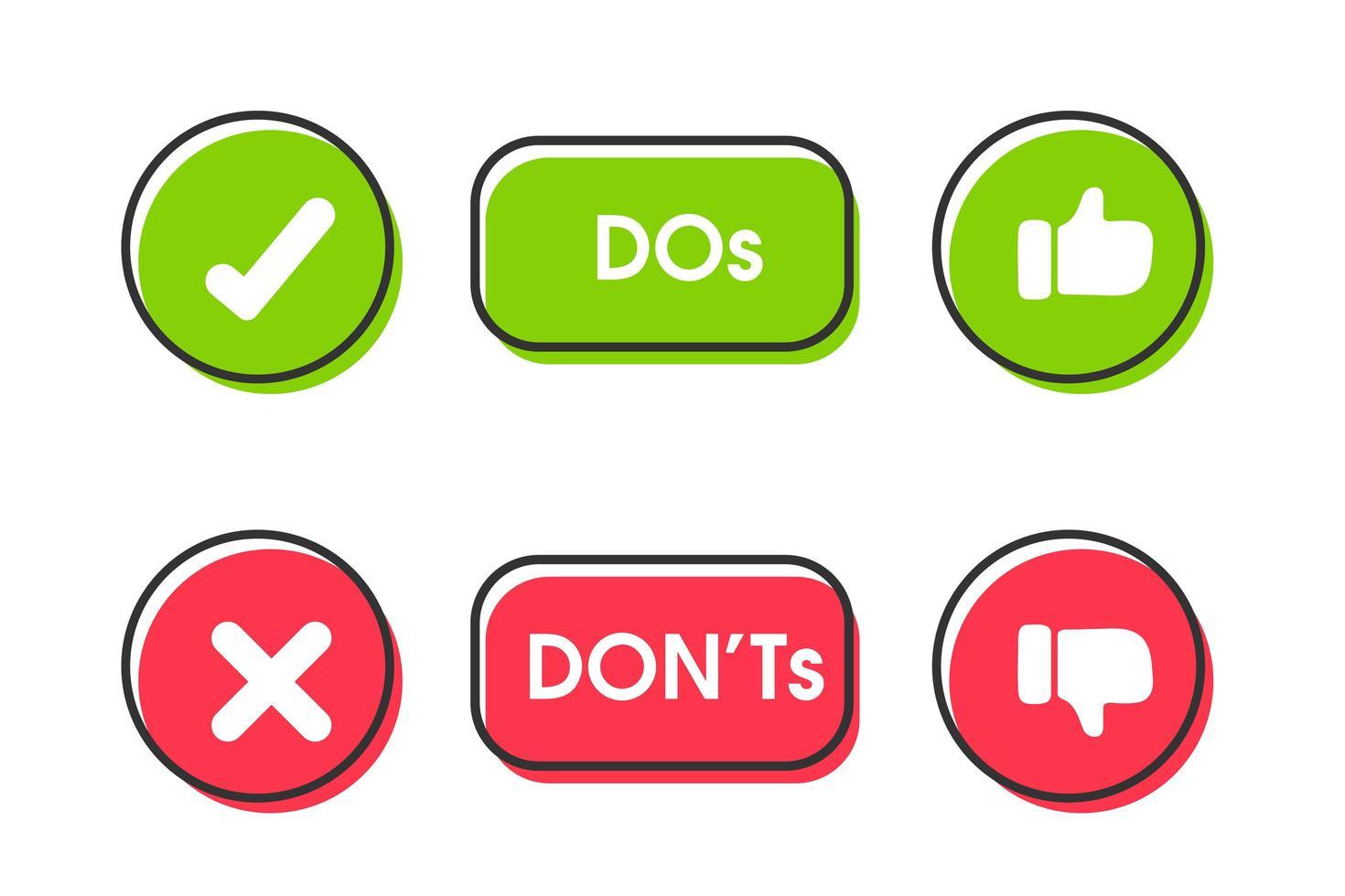 fazer e não gostar e não gostar de conjunto de ícones vetor