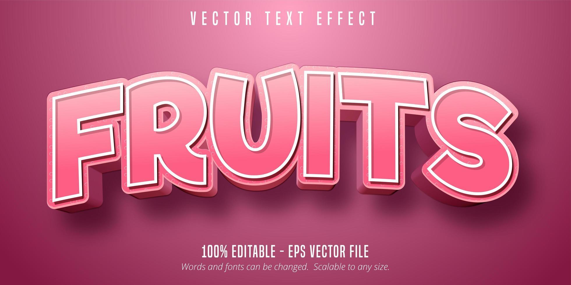 efecto de texto rosa de frutas vector