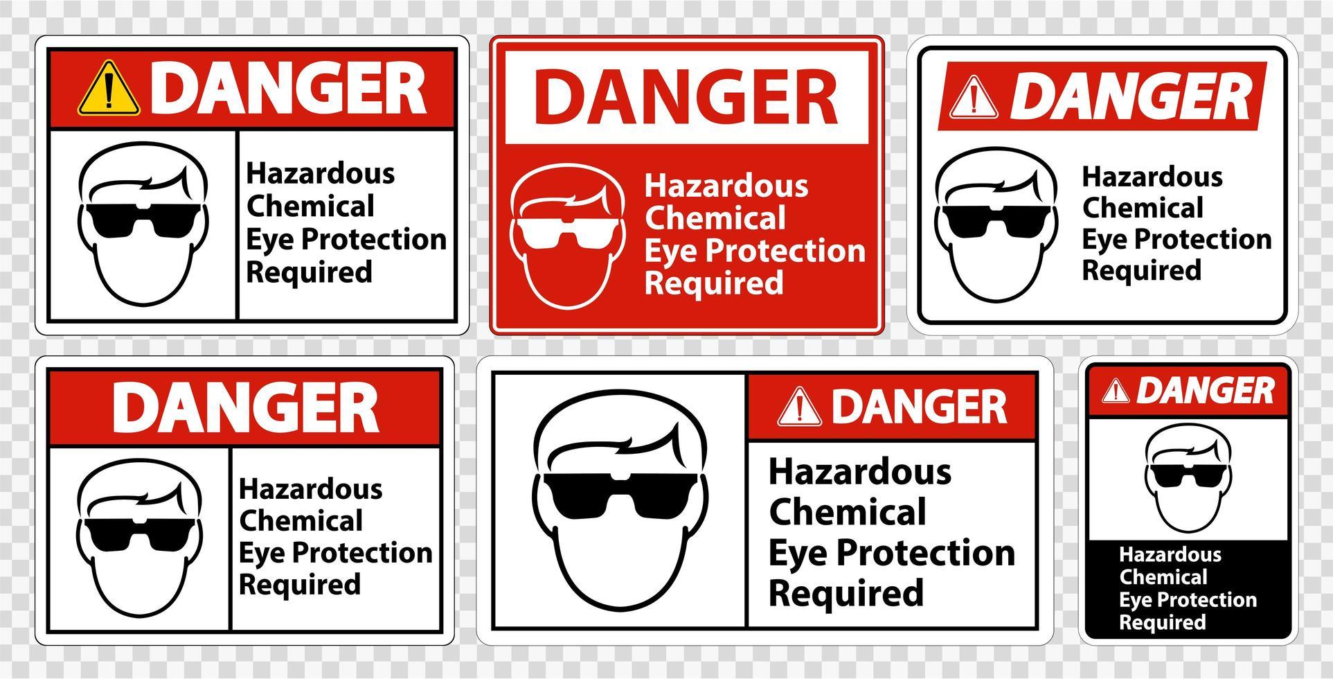 segni di protezione dagli occhi chimici pericolosi richiesti vettore