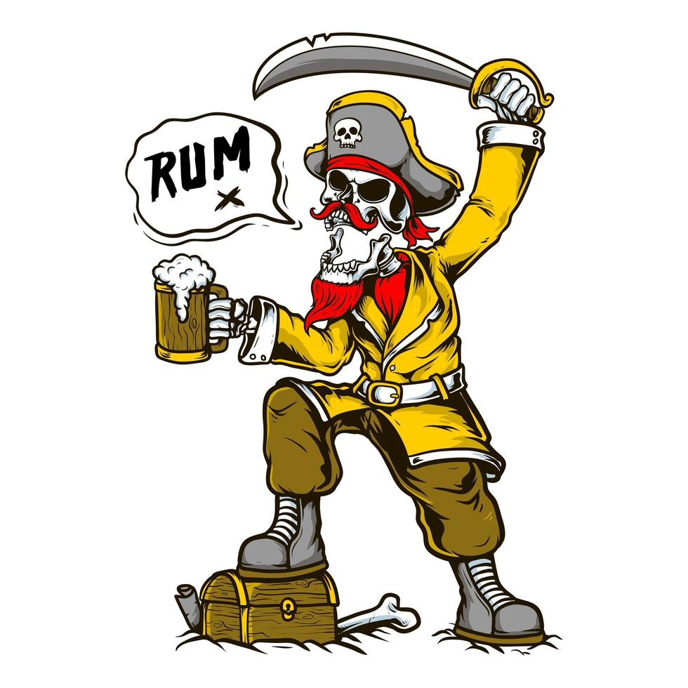 Skeleton Pirate Holding Sword and Rum vector