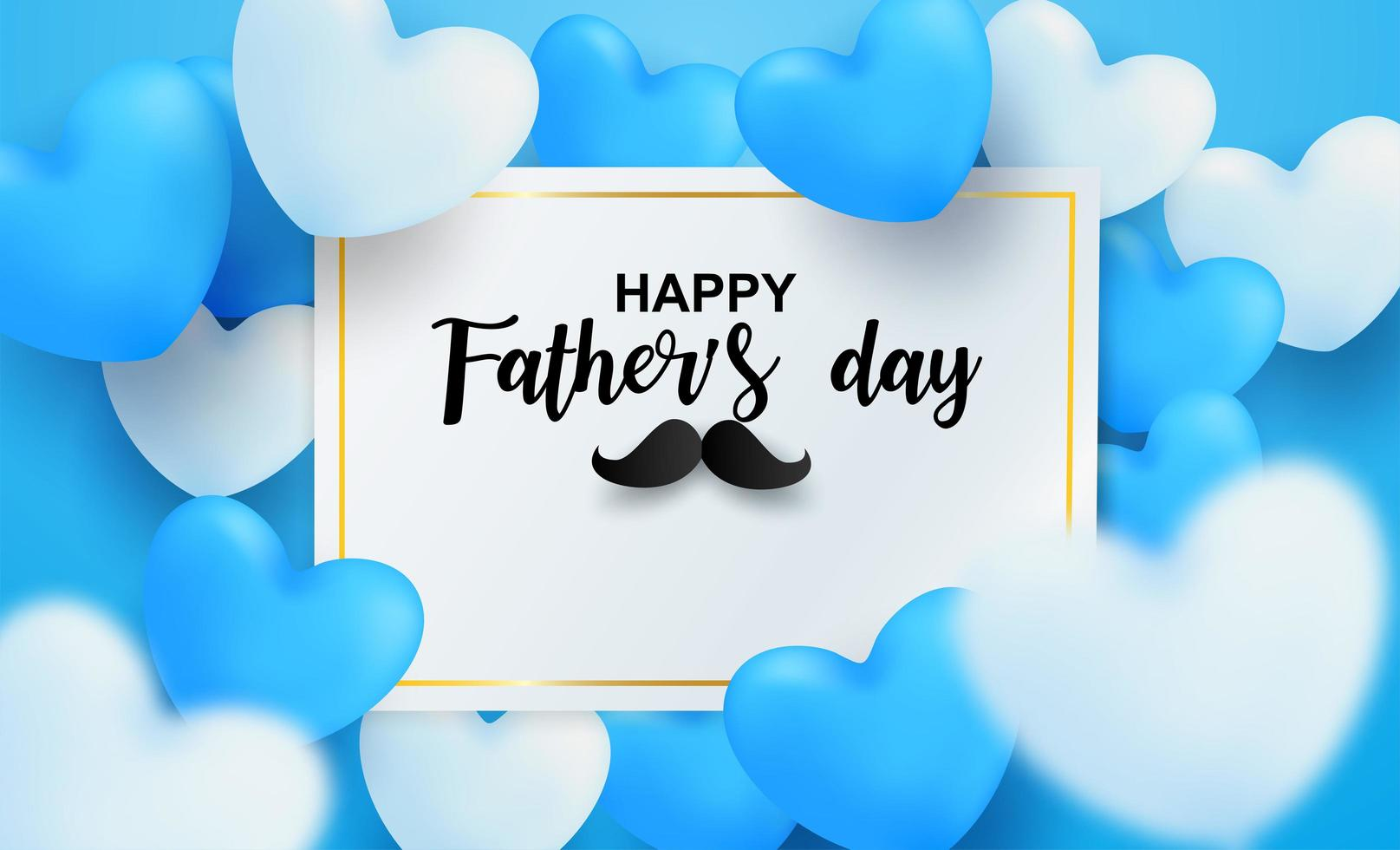 Father's Day card with blue and white hearts vector
